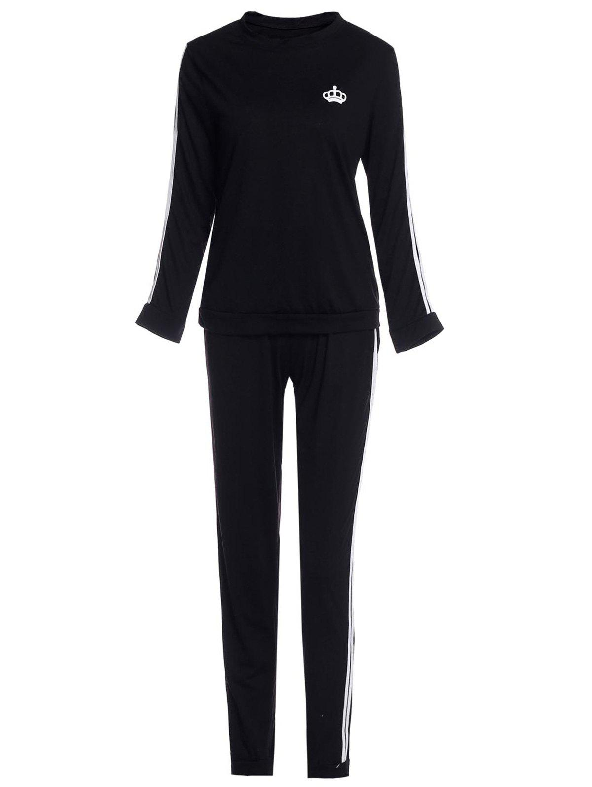Sale Active Color Block Striped Pullover Sweatshirt and Bodycon Pants Twinset For Women