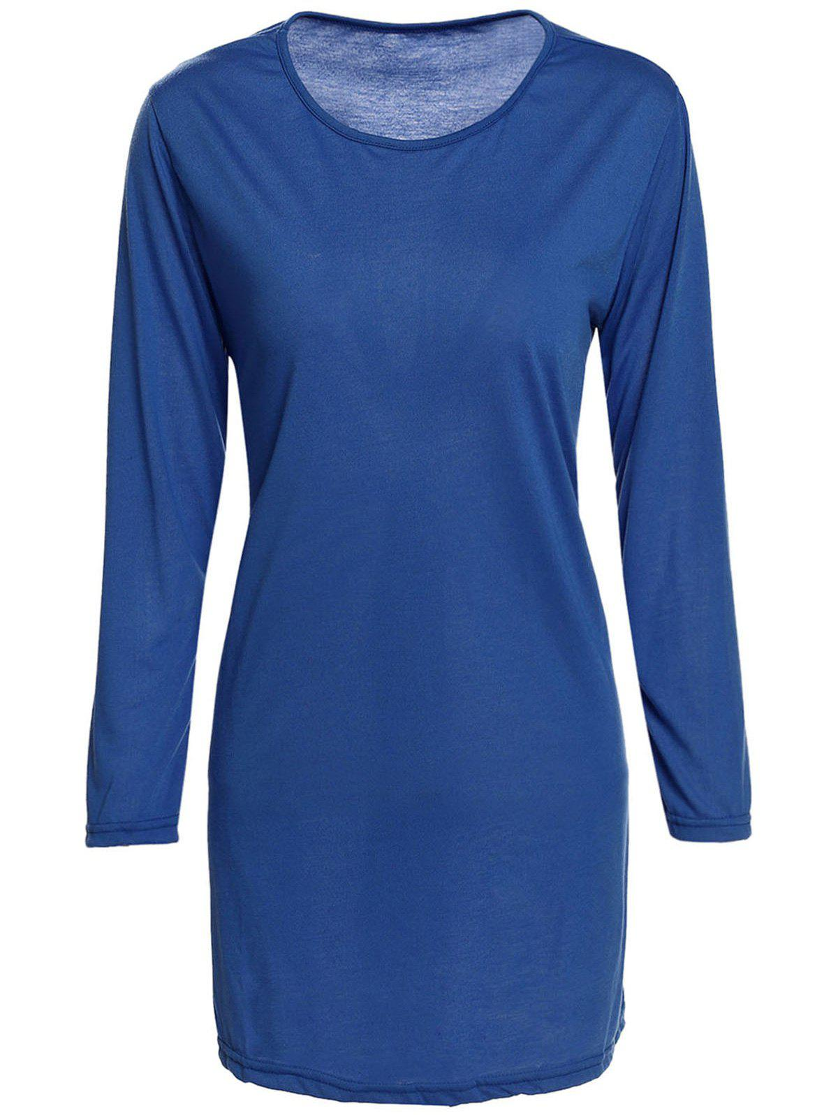 Fancy Brief Style Round Collar 3/4 Sleeve Solid Color Loose-Fitting Women's Dress