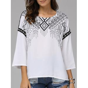 Fashionable Nine-Minute Sleeves Round Collar National Wind Printing T-shirt  For Women