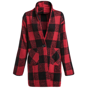 One Button Long Sleeve Plaid Big Pocket Wool Coat