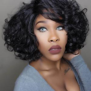 Towheaded Ladylike Curly Short Capless Inclined Bang Natural Black Heat Resistant Fiber Women's Wig - BLACK