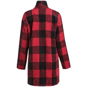 One Button Long Sleeve Plaid Big Pocket Wool Coat -