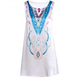 Stylish Round Neck Sleeveless Abstract Print Women's Mini Dress - LIGHT BLUE S
