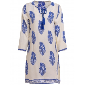 Elegant V-Neck Three Quarter Sleeve Blue and White Porcelain Print Women's Dress