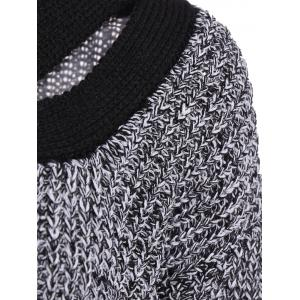 Stylish V-Neck Long Sleeve Hollow Out Spliced Women's Sweater -