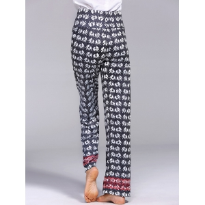 Vintage Mid-Waisted Elephant Print Wide Leg Women's Exumas Pants - BLACK XL