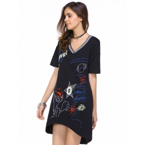 Casual Short Sleeve V-Neck Embroidery Design Women's Dress -