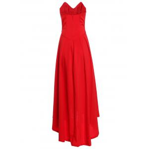 V Neck Strapless Prom Maxi Dress - RED M