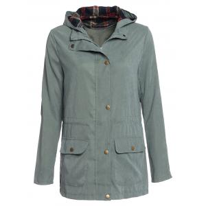 Stylish Hooded Long Sleeve Gingham Pattern Drawstring Women's Coat - Army Green - Xl