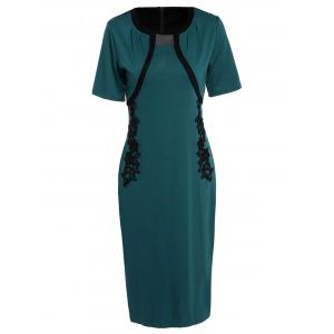 Noble Round Neck Short Sleeve Embroidered Faux Twinset Women's Dress - Green - Xl