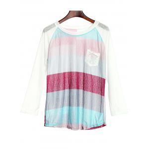 Stylish Scoop Neck 3/4 Sleeve Striped Pocket Spliced Women's T-Shirt