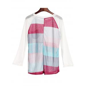 Stylish Scoop Neck 3/4 Sleeve Striped Pocket Spliced Women's T-Shirt -