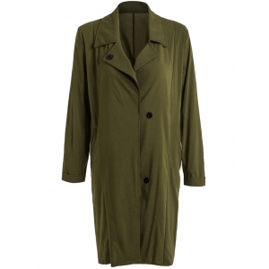 Simple Style Turn-Down Collar Solid Color Buttoned Trench Coat For Women