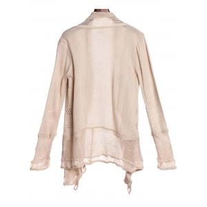Simple Style Collarless Hollow Out Solid Color Irregular Cardigan For Women - KHAKI L