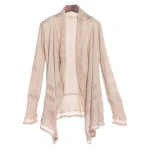 Simple Style Collarless Hollow Out Solid Color Irregular Cardigan For Women - Khaki - M