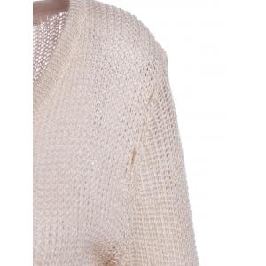Chic Solid Color Lace Splicing Long Sleeve Scoop Neck Pullover Sweater For Women - APRICOT M