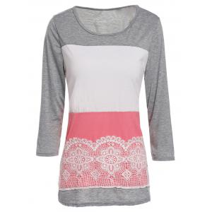 Stylish Scoop Neck 3/4 Sleeve Lace Splicing Color Block T-Shirt For Women