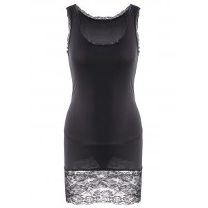 Sexy Style Sleeveless Scoop Neck Solid Color Lace Splicing Packet Buttock Women's Dress (With T-Back) - Black - One Size