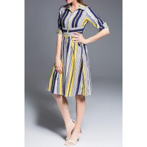 Hit Color Single Breasted Shirt Dress -