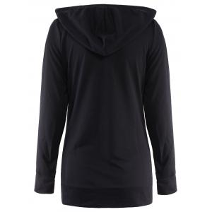 Active Black Hooded Skull Printed Pullover Hoodie For Women -