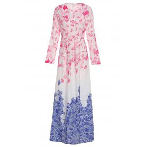 Stylish Round Collar Ombre Flower Long Sleeve Dress For Women - Blue And Pink - S