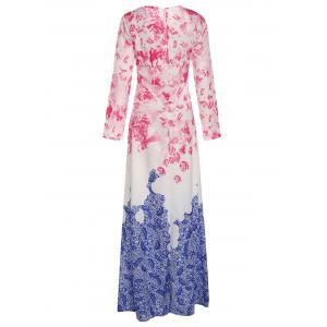 Stylish Round Collar Ombre Flower Long Sleeve Dress For Women - BLUE AND PINK XL