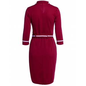 Turn-Down Collar Buttoned Work Midi Pencil Dress -