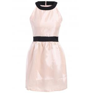 Stunning Scoop Neck Sleeveless Color Block Polyester Women's Dress - White - One Size