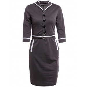 Turn-Down Collar Buttoned Work Midi Pencil Dress