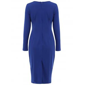 OL Style Solid Color Round Collar Long Sleeve Bodycon Midi Dress For Women -