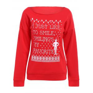 Simple Style Letter and Snowflake Printed Christmas Sweatshirt For Women