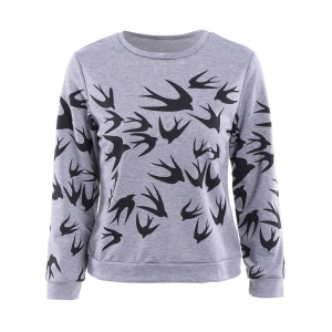 Stylish Round Collar Long Sleeve Swallow Print Women's Sweatshirt