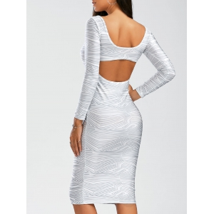 Backless Long Sleeve Sheath Tight Dress
