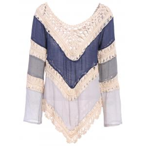 Trendy V-Neck Long Sleeve Color Block Hollow Out Women's Knitwear -