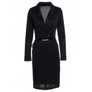 Button Design Bodycon Long Sleeve Wrap Peplum Dress