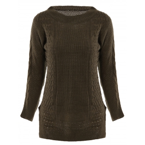 Stylish Round Neck Long Sleeve Solid Color Furcal Women's Sweater