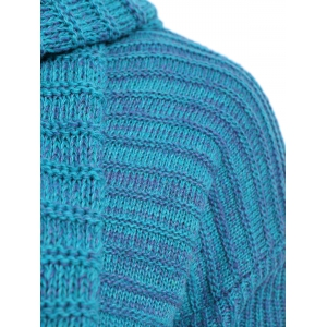 Scoop Neck Long Chunky Sweater with Scarf - GREEN ONE SIZE(FIT SIZE XS TO M)