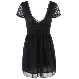 Plunging Neck Lace Panel Night Club Dress