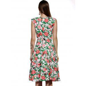 Vintage V Neck Full Print Knee Length Dress -