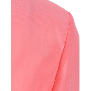 Stylish Scoop Collar Long Sleeve Asymmetrical Chiffon Women's Blouse - WATERMELON RED XL