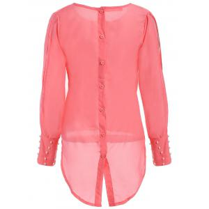 Stylish Scoop Collar Long Sleeve Asymmetrical Chiffon Women's Blouse -