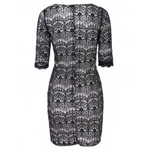 Fashionable Plunging Neckline 3/4 Sleeve Lace Dress For Women - BLACK S