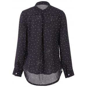 Stylish Shirt Collar Polka Dot Long Sleeves Blouse For Women -