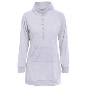 Casual Buttoned Stand Collar Solid Color Long T-Shirt For Women - Light Gray - Xl