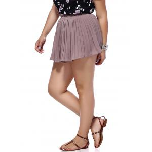 Trendy Plus Size Solid Color Pleated Women's Shorts -
