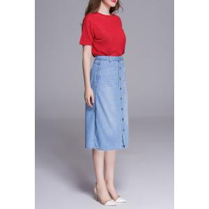 High Waist Button Front Denim Skirt -