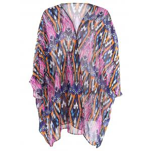 Batwing Printed Swing Long Kimono Cover Up - COLORMIX ONE SIZE(FIT SIZE XS TO M)