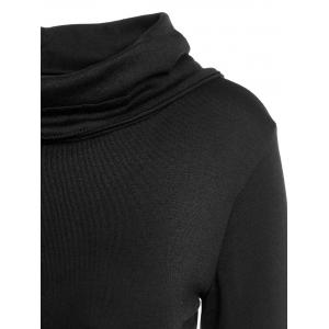 Stylish Black Lace-Up Back Long Sleeves Hoodie For Women - BLACK L