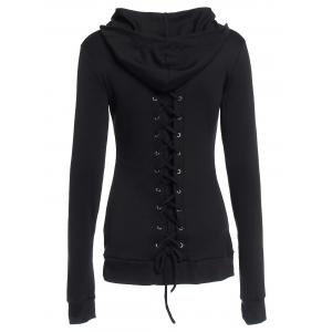 Stylish Black Lace-Up Back Long Sleeves Hoodie For Women -