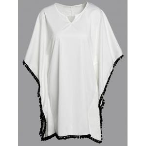 Stylish Loose-Fitting Bat Sleeve V-Neck Dress For Women - White - Xl